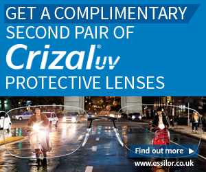 Get a complimentary second pair of Crizal UV protective lenses